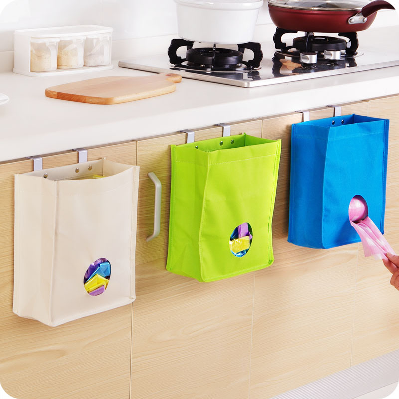 4pcs/lot Kitchen Cabinet Door Back Bag To Receive Hanging Storage Bag 3 Colors Multifunction Sundries Organizer Wholesale WZ(China (Mainland))