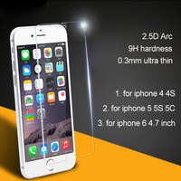 Tempered glass screen protector for iphone 6 5 5S 5C 4 4S 2.5D Arc edge 0.3mm thickness, no retail packing 1pc retail selling