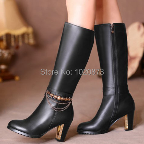 wholesale 2014 ladies Genuine leather Fashion-Mid-Calf Boots winter platform thick heel high heel boots for women size:31-45<br><br>Aliexpress