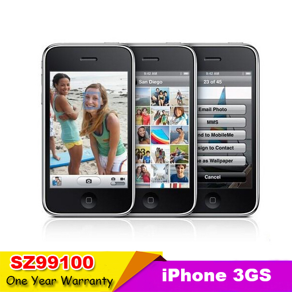 "3GS Sealed box Original Apple iPhone 3GS Smart phone GPS 8GB 16GB 32GB ROM 3.0MP 3.5""inch iOS Phone Used Support Russian Spanish(China (Mainland))"