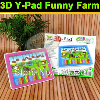 Free shipping, 3D Y - Pad Funny Farm Kid Tablet Touch Learning Machine, Educational Toys Laptop, Animal sound+Music+LED Light