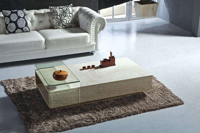 Modern coffee table travertine coffee tables modern high for High end coffee table