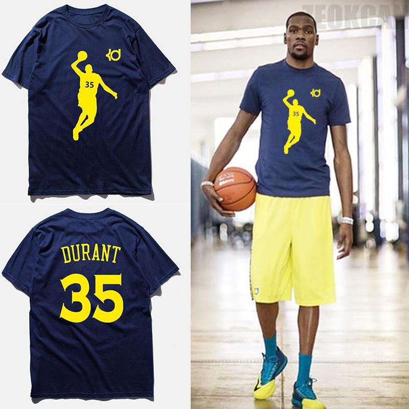 Fashion brand clothing t shirt men KD No.35 kevin durant basketbal jersey blue short sleeves 100% cotton combed t shirts,tx2348(China (Mainland))