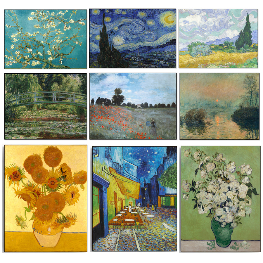 Canvas Painting Famous Abstract Oil Painting Van Gogh Picasso Claude Monet Landscape HD Print Wall Art Picture Living Room Decor(China (Mainland))