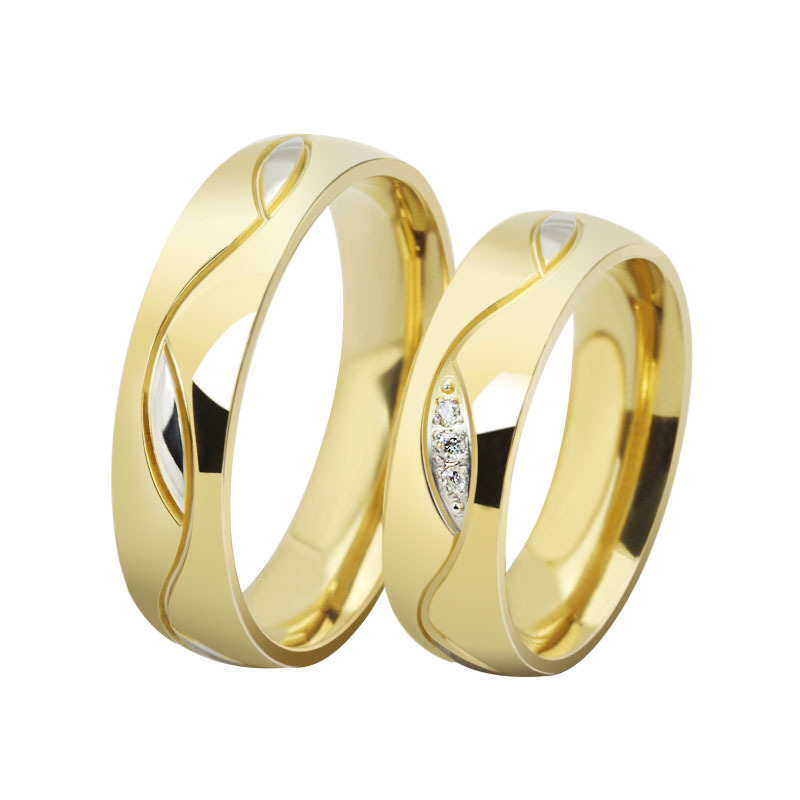 Free shipping 18k gold plated 6mm wide wedding rings for men and women jewelr