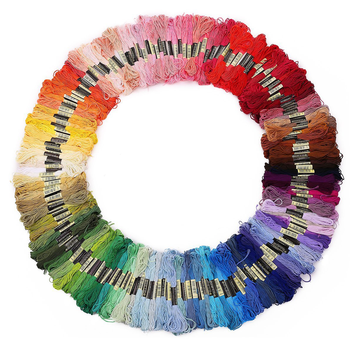 200 Skeins 8M Multi-color Soft Cotton Cross Stitch Embroidery Threads Floss Sewing Threads (Random Color)