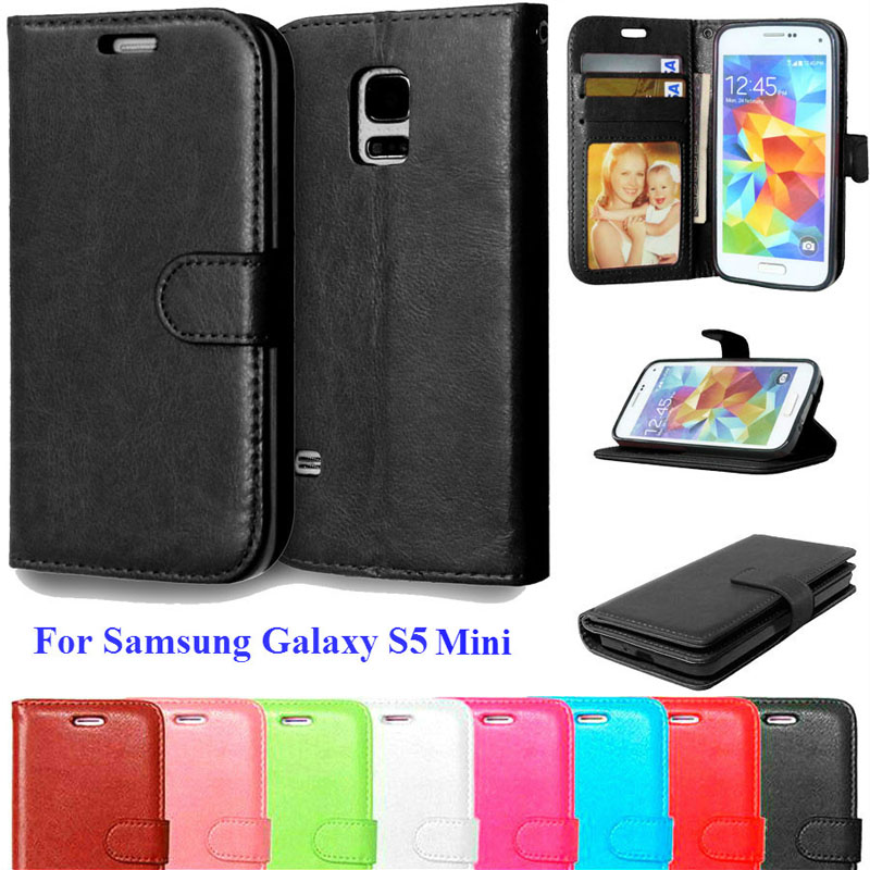 S5 Mini Luxury Phone Cases Coque Samsung Galaxy S5 Mini Case Flip Leather Wallet Card Slot Stand Holder Cover Fundas