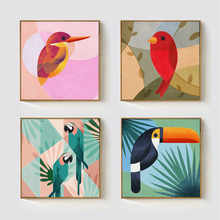 HAOCHU Geometric Abstract Hawaii Coconut Tree Toco Toucan Bird Canvas Painting Animals Wall Poster for Living Room Decoration(China (Mainland))