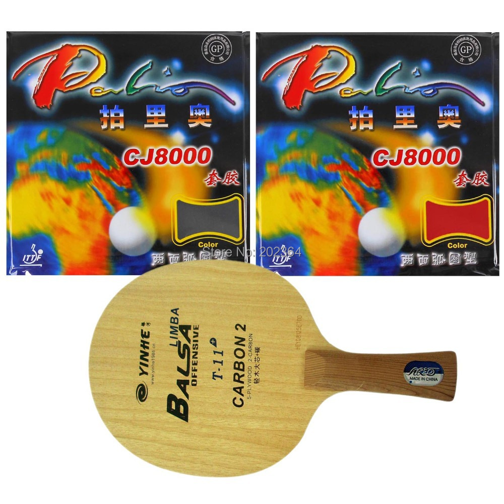 Free Shipping, Galaxy T-11+ Table Tennis Blade with 2x Palio CJ8000 (2-Side Loop) Rubber With Sponge for Ping Pong Racket