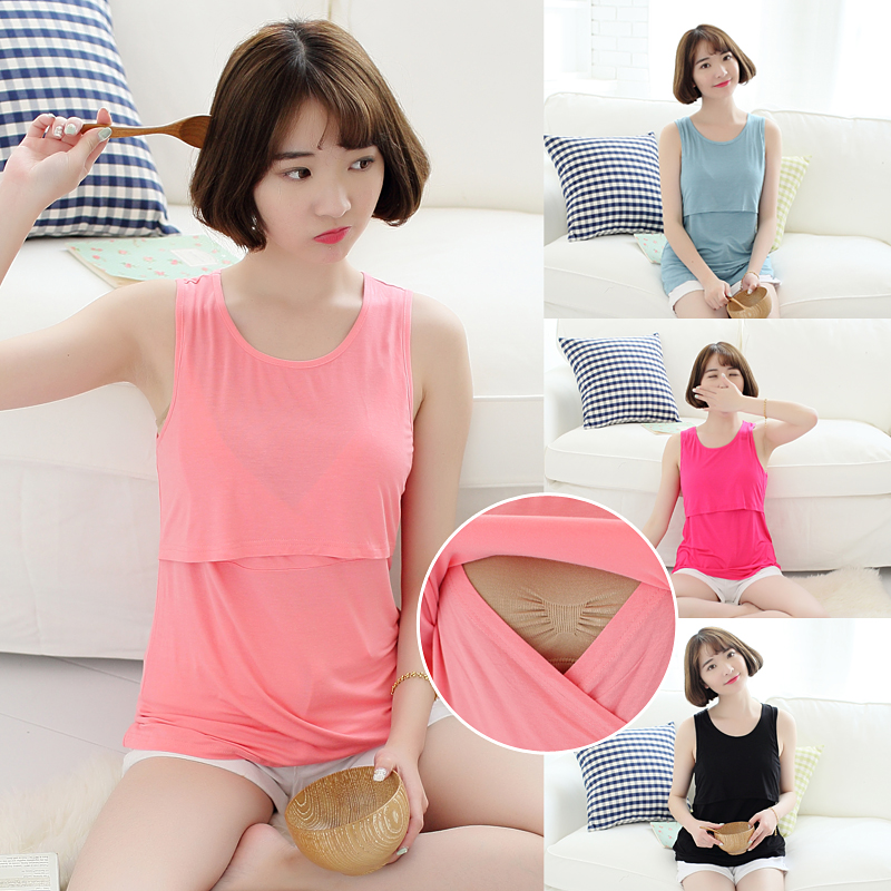 5041# Modal Maternity Nursing Cami Tees Breast Feeding Clothes for Pregnant Women 2016 Fashion Summer Pregnancy Tank Clothing(China (Mainland))