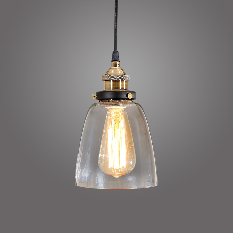 Contracted personality IKEA industrial nostalgia creative restaurant bar aisle bell glass chandelier LED lighting excluding lamp