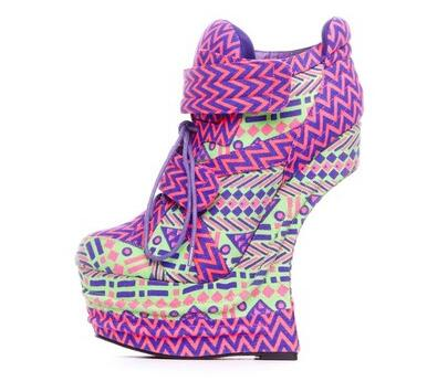 Fashion star style platform 16 female brogan boots shoes neon cotton prints(China (Mainland))