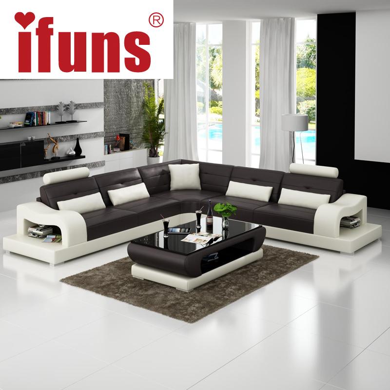 IFUNS grey leather chesterfield sofa luxury sofa set living room furniture l shape corner chaise floor sectional sofa (fr)(China (Mainland))
