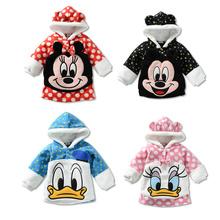 RETAIL Children's clothing children's Hoodies & Sweatshirts Fleece cartoon minnie Donald mickey Sweatshirts coats freeshipping(China (Mainland))