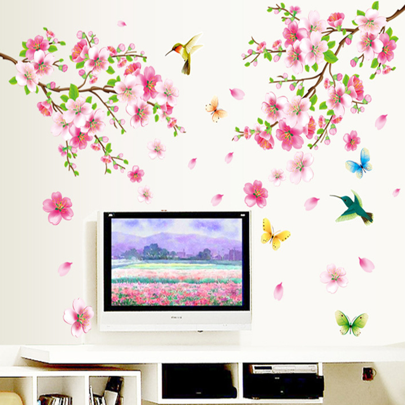 New fresh pink peach flower birds butterfly romantic home living room decorative wall stickers mural decals Removable PVC(China (Mainland))
