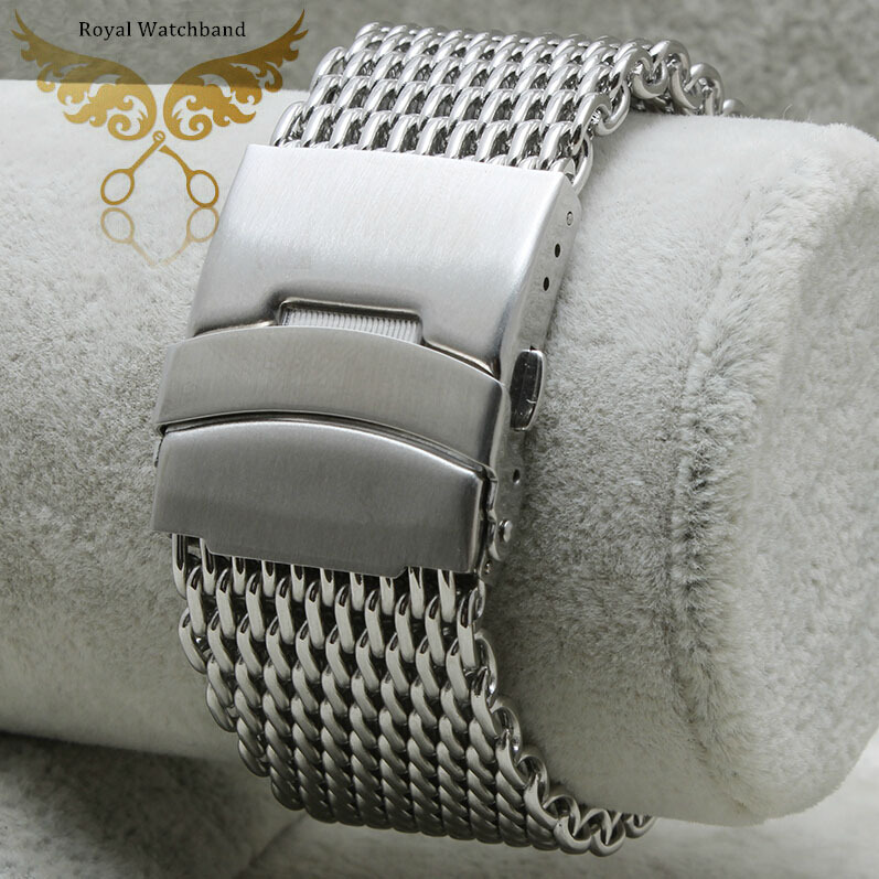 New 20mm 22mm 24mm Replacement Bracelets Silver Shark Mesh Stainless Steel Watch Band Strap Security Depolyment Buckle(China (Mainland))