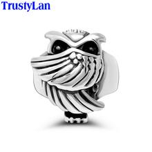 TrustyLan Прохладный Сова Кольца Для Мужчин Из Нержавеющей Стали Палец Кольцо Классический Серебристый Цвет Партия Ювелирных Изделий Для Мужчин Анель Masculino(China (Mainland))