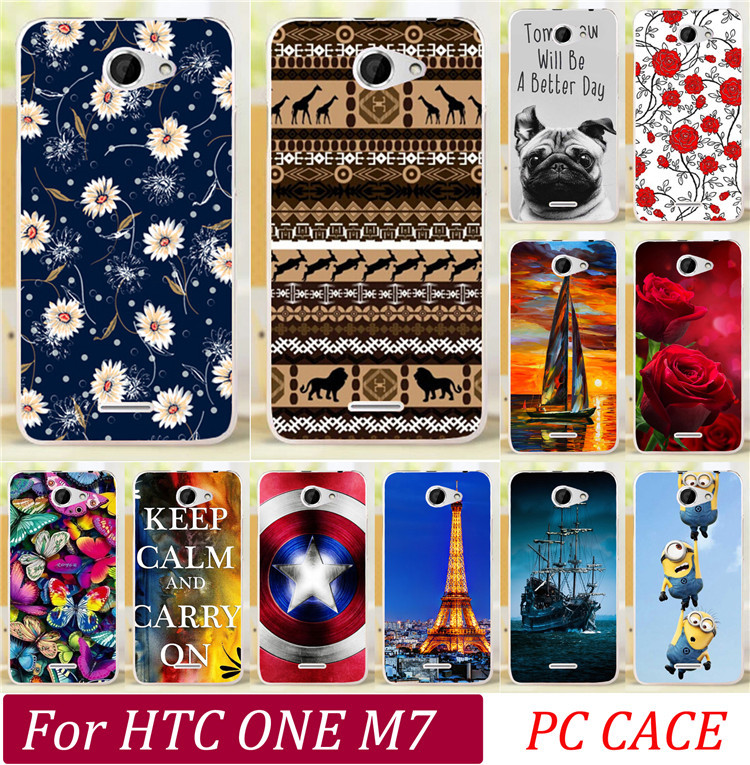 Eiffel Tower Audrey Hepburn Cute Dog Tiger Skull Butterfly Rose Cat Keep Clam Batman Cases For HTC One M7 Phone Case Cover Shell(China (Mainland))