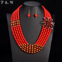 Newest Nigerian wedding bridal jewelry sets crystal flower necklace & pendant women statement collar African beads jewelry sets(China (Mainland))