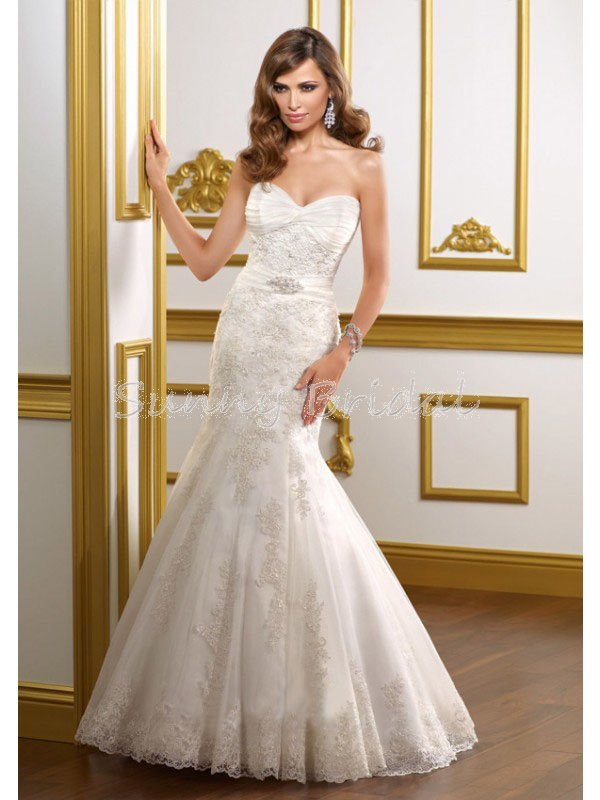 Trumpet Style Wedding Dresses Lace : Beaded trumpet lace applique wedding dress spring style wd g