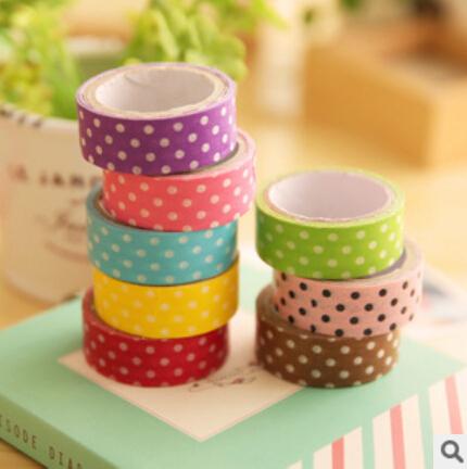 1PCS 8 colors Polka Dots Masking Tape Washi Adhesive Stationery Decorative DIY Cute Cartoon Scrapbooking Free shipping 0001(China (Mainland))