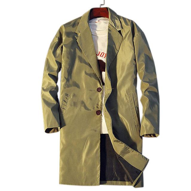 2016 Новый Осень Марка Одежды Длинный Плащ Мужчины Моды для Мужчин Пальто Осень мужской Пальто 3 Цвета Тонкий Манто Длинные Homme