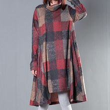 Autumn and Winter Dress Plus Size Clothing Loose Women Dress Turtleneck Irregular Full Dress Plaid Long Sleeve Winter Dress(China (Mainland))