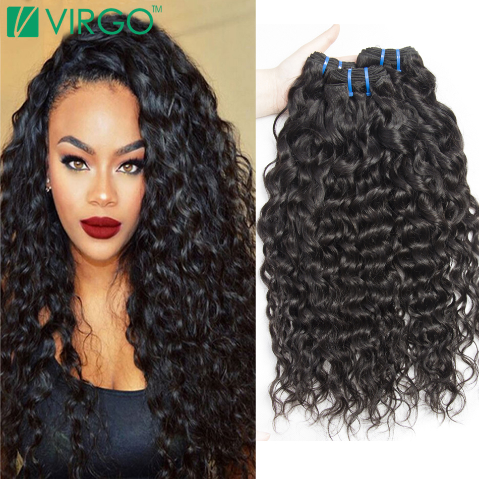 Wet Wavy Human Hair Weave 4 Bundles Indian Virgin Water Wave Natural Raw Curly Extensions Mink - Virgo Company Inc. store