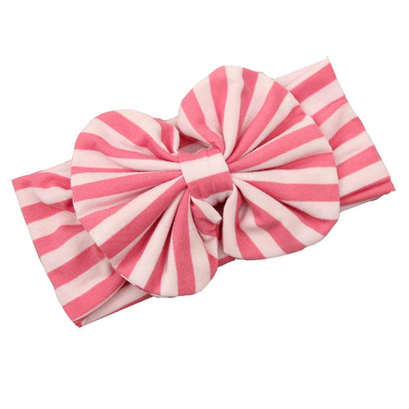 Newly Design Baby Girls Striped Big Bow Headbands Fashion Elastic Hairbands Children Headwrap Aug4(China (Mainland))