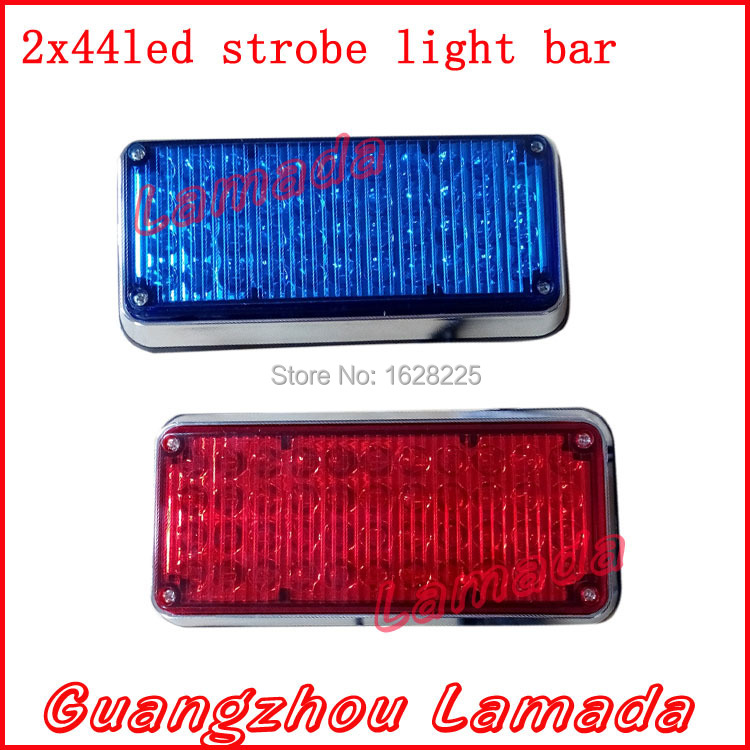 2x44 led high bright vehicle strobe lights police warning lights emergency strobe lamp ambulance flash lights DC12V RED BLUE