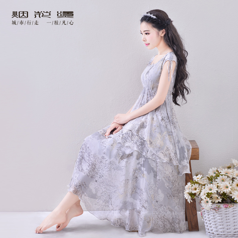 2 pieces of 268 yuan JY summer fireworks hot Couture retro Chiffon Printed Dress and put on asymmetric ligohidesОдежда и ак�е��уары<br><br><br>Aliexpress