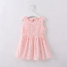 Trẻ em Áo Váy cho Bé Gái Mùa Hè Bé Gái Không tay Cho Bé In Hoa Đầm Công Chúa 1 2 3 4 5 6 7 năm Quần Áo Trẻ Em(China)