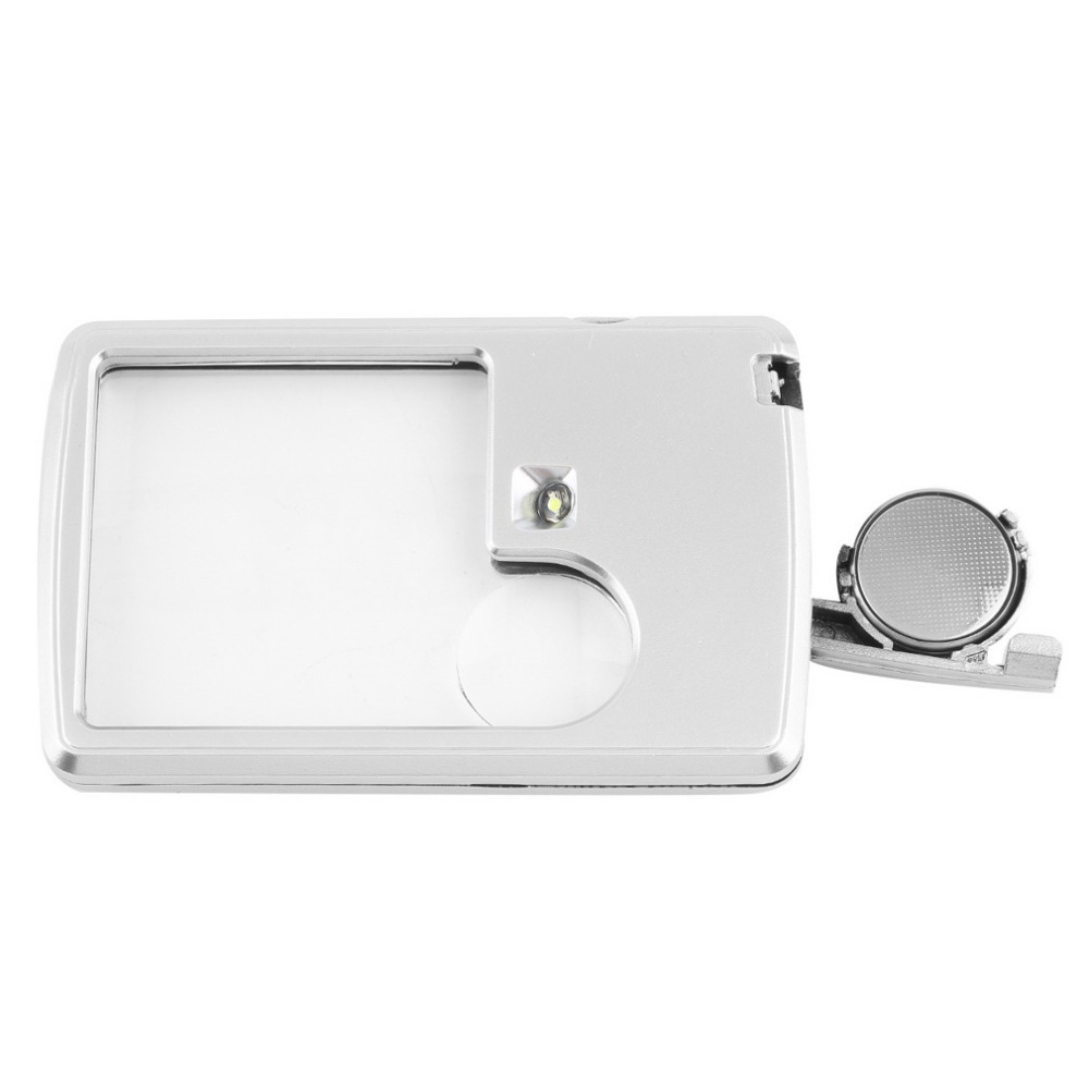 1pcs Credit Card 88 57 9mm Led Magnifier loupe with light Leather Case Brand New magnifying