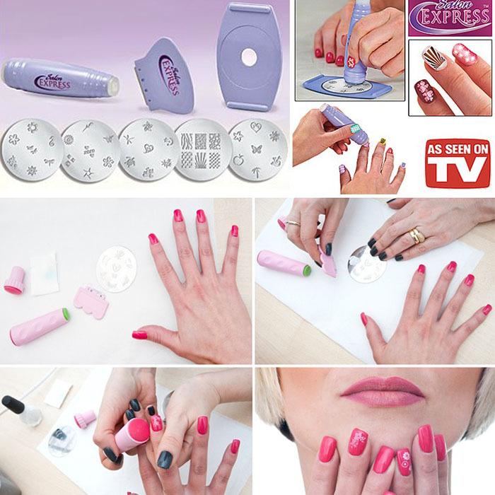 Beauty Salon Express Nail Polish 3D DIY Design Kit Stamp Art Stamping Nail Decoration Professional Nail Art Equipment Tools(China (Mainland))