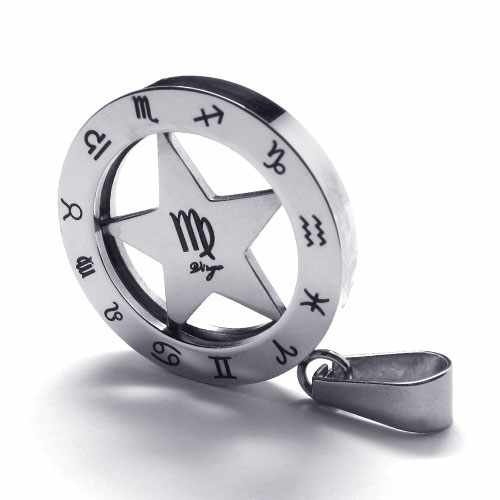 Free Shipping Fashion Jewelry Circle Star Signs of Zodiac Virgo Pendant 316L Stainless Steel Necklace Necklaces 18739(China (Mainland))