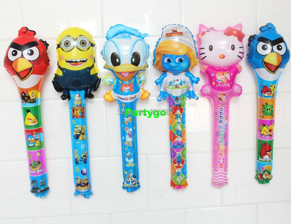 Wholesale 100pcs/lot Mix Design Novelty Animal Clapper Stick Balloons Inflatable Toys Cheering Stick Balloons(China (Mainland))