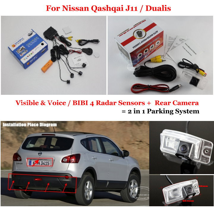 Фотография For Nissan Qashqai J11 / Dualis - Car Parking Sensors + Rear View Camera = 2 in 1 Visual BIBI Alarm Parking System