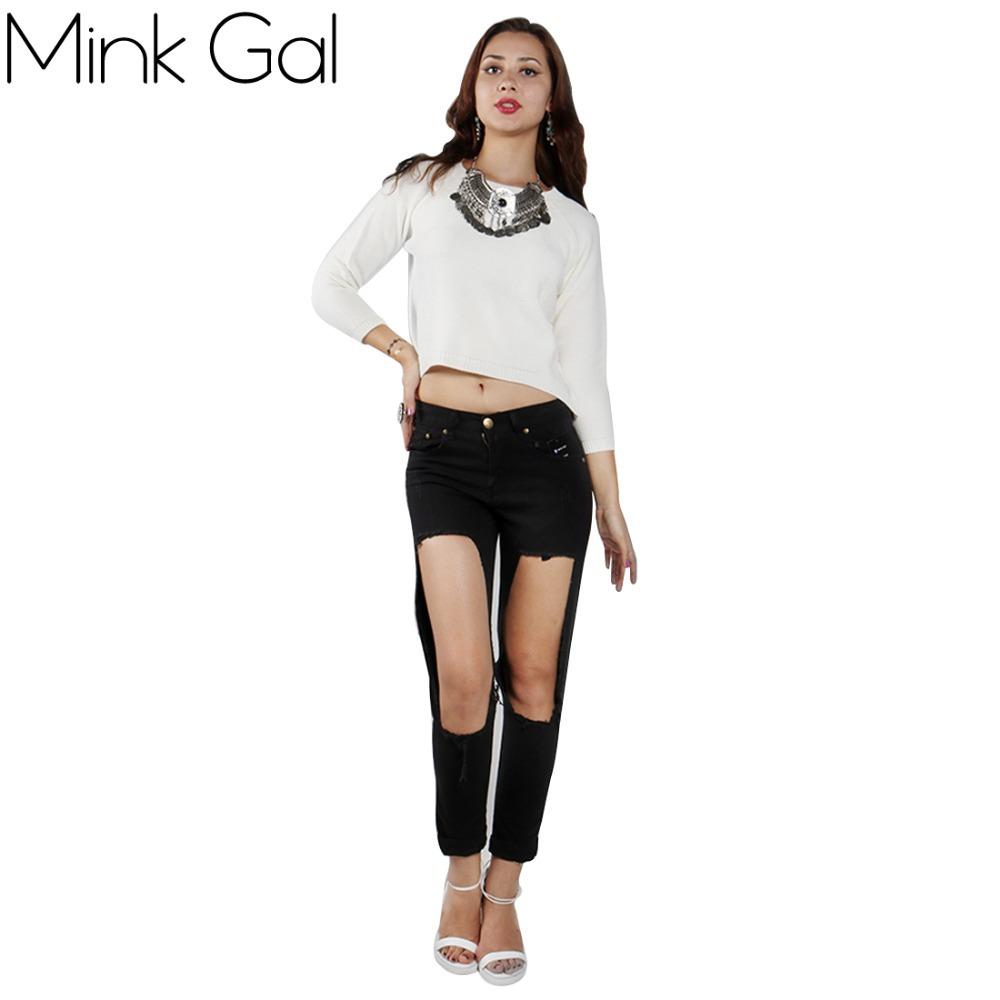 Mink Gal 2015 Autumn Winter Fashion Short Women Knitted Sweater Asymmetric Hem Pullovers Tops(China (Mainland))