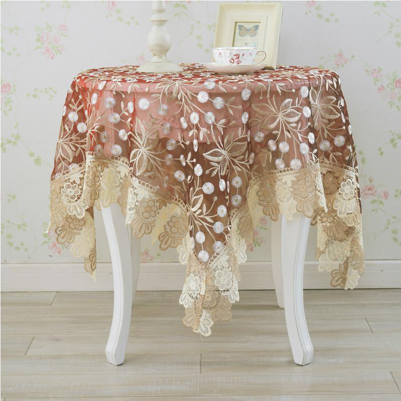 Home Textiles Decorative Luxurious Lace Embroidered Square Organdy Tablecloths Towel Free Shipping Restaurant Table Cloth(China (Mainland))