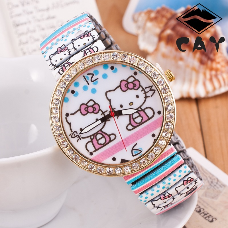 Fashion Cute Hello Kitty Lovely Cartoon Design Crystal Diamond Sprint Band Casual Wristwatches Watch for Women Female Girls(China (Mainland))