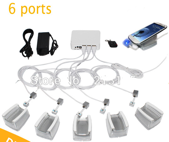 6 pcs acrylic holder charging cable remote control white color abs security box mobile tablet retail shop alarm display system(China (Mainland))