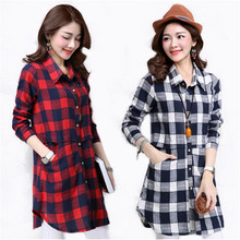 Plaid Blouse Women Long Sleeve Cotton Blouse Shirt Turn-down Collar Casual Shirt Dresses Plus Size 3XL Long Shirt Dresses