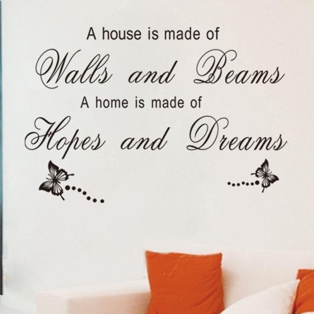 Стикер стены надежда и мечты-бесплатная дом бесплатная доставка съемный 3D горячей подарок живут оформление номера поделки пропуск стены искусства