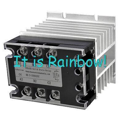DC-AC 25A 5-32VDC/ 380VAC Three Phase SSR Solid State Relay w Aluminum Heat Sink - zoy store