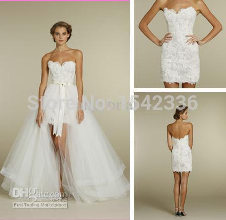 Sweetheart two piece design lace short mini bridal gowns for Short wedding dress with removable train