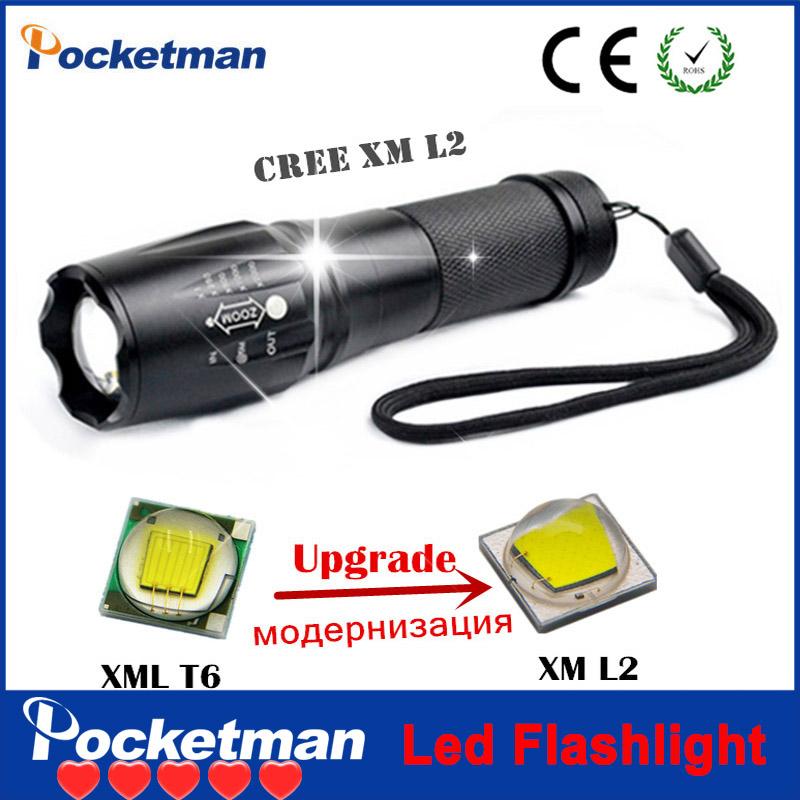 4000 Lumens High Power CREE XML-L2 5 Modes LED Flashlight Waterproof Zoomable Torch lights lampe torche linterna led zk93(China (Mainland))