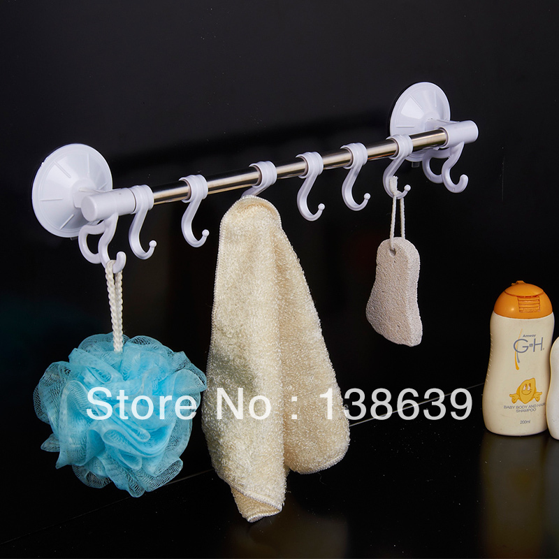 Stainless steel towel bar with hooks bathroom accessories for Cheap bathroom accessories