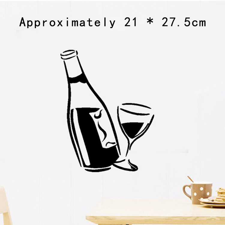 Easy Time UK Kitchen Decal Wine Glass And Bottle Wall Art Stickers Vinyl Easy To Apply Hot HG-WS-1853-BK