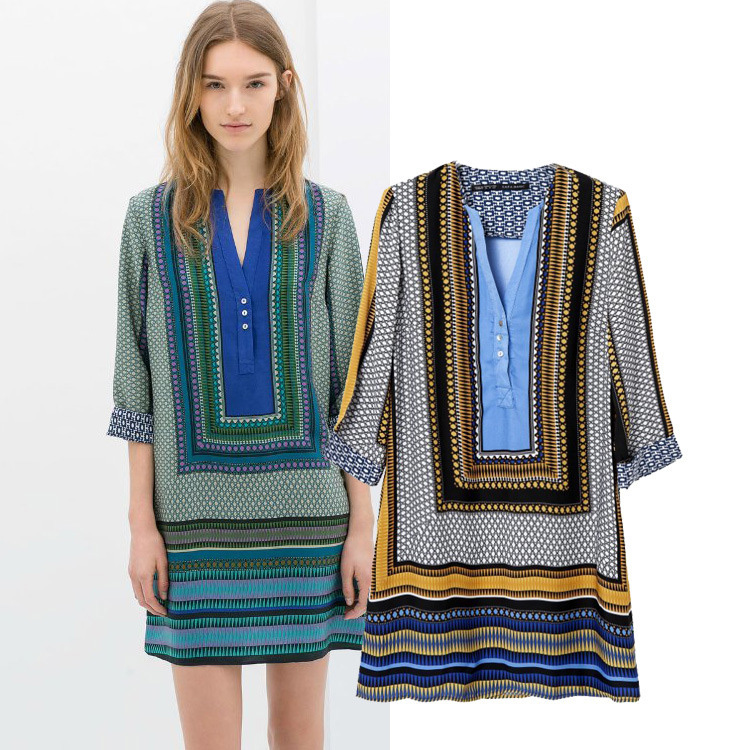 2015 New Brand 2 colors Ethnic style Colorful printed Geometric Vintage Dresses Women casual dress summer Fashion Novelty Blouse(China (Mainland))