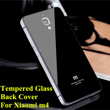 2015 Newest Tempered Toughened Glass Back Cover Aluminum Frame For Xiaomi 4 Mi4 M4 Mi 4 Luxury Mobile Phone Battery Case (Z0724)(China (Mainland))